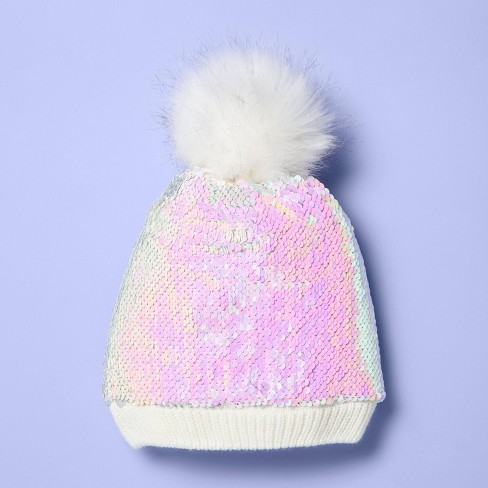 Girls' Flip Sequin Beanie Hat - More Than Magic™ White One Size - image 1 of 4