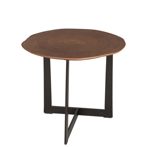 Modern Tree Ring Veneer Side Table Walnut Glitzhome