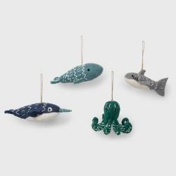 4ct Wool Sea Creature Christmas Ornament Set - Wondershop™