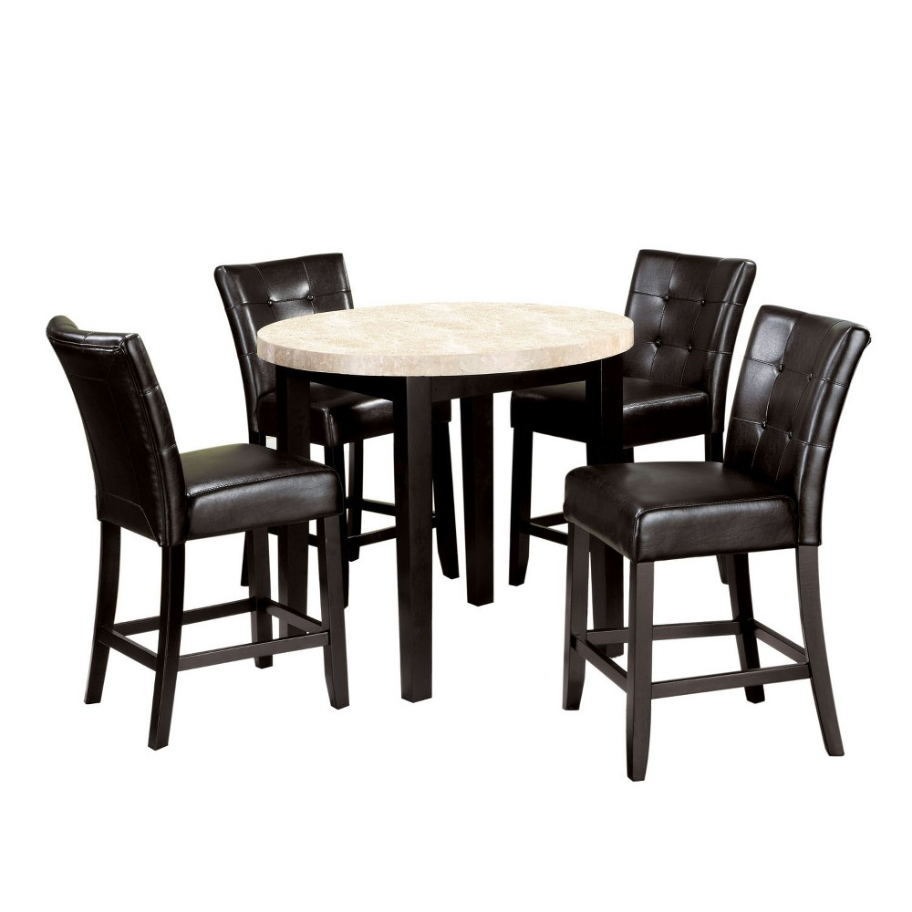 "Image of ""5pc 40"""" Flinton Ivory Marble Top Counter Dining Table Set Espresso - ioHOMES"""