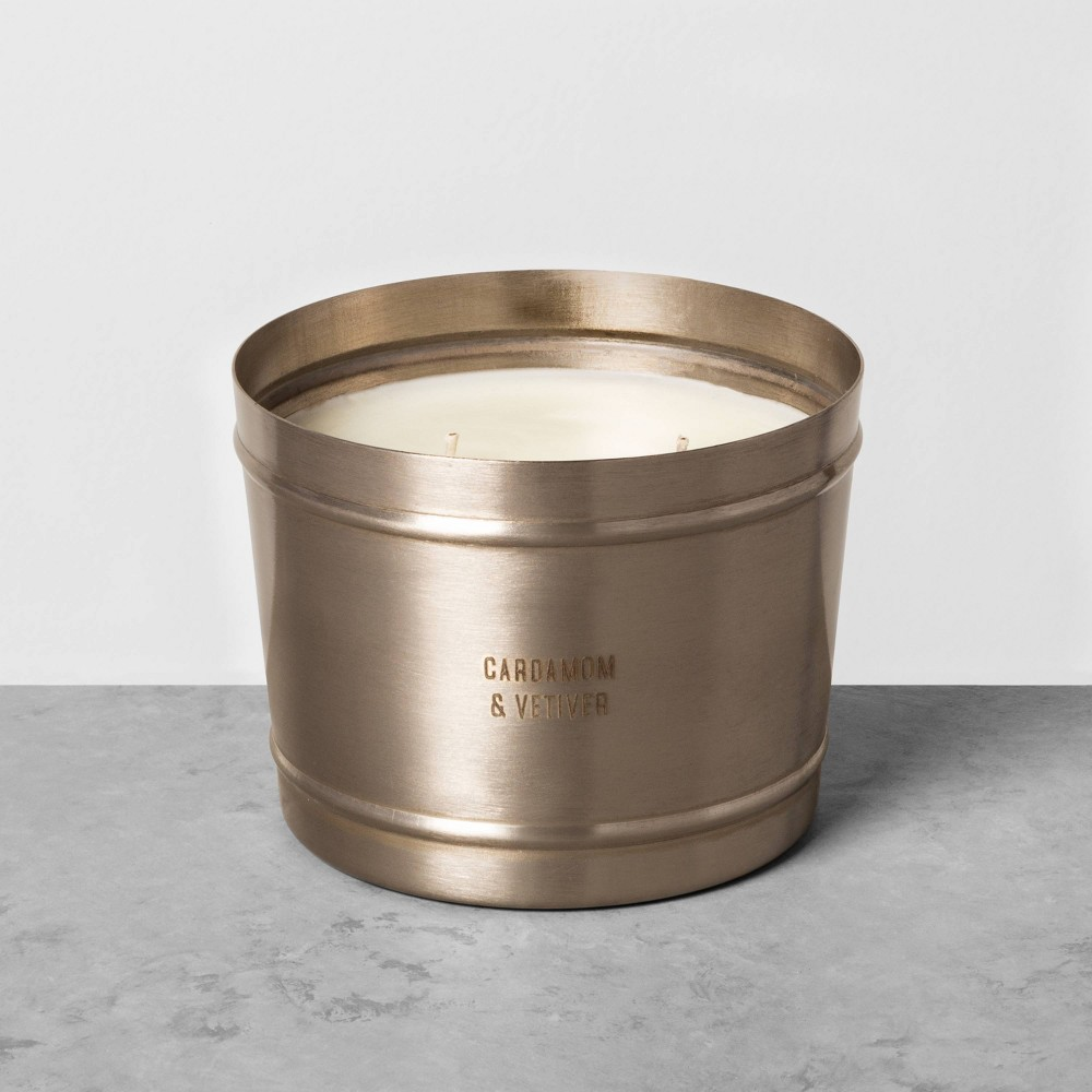 Image of 17.8oz Holiday Pewter Jar Candle Cardamom & Vetiver - Hearth & Hand with Magnolia