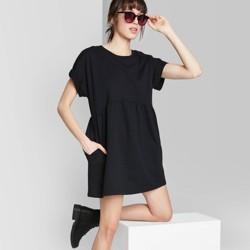 Women's Short Sleeve Crewneck Knit Babydoll T-Shirt Mini Dress - Wild Fable™