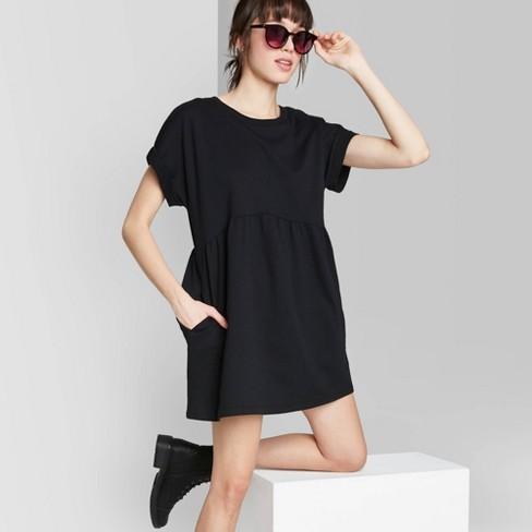 Women's Short Sleeve Crewneck Knit Babydoll T-Shirt Mini Dress - Wild Fable™  - image 1 of 3