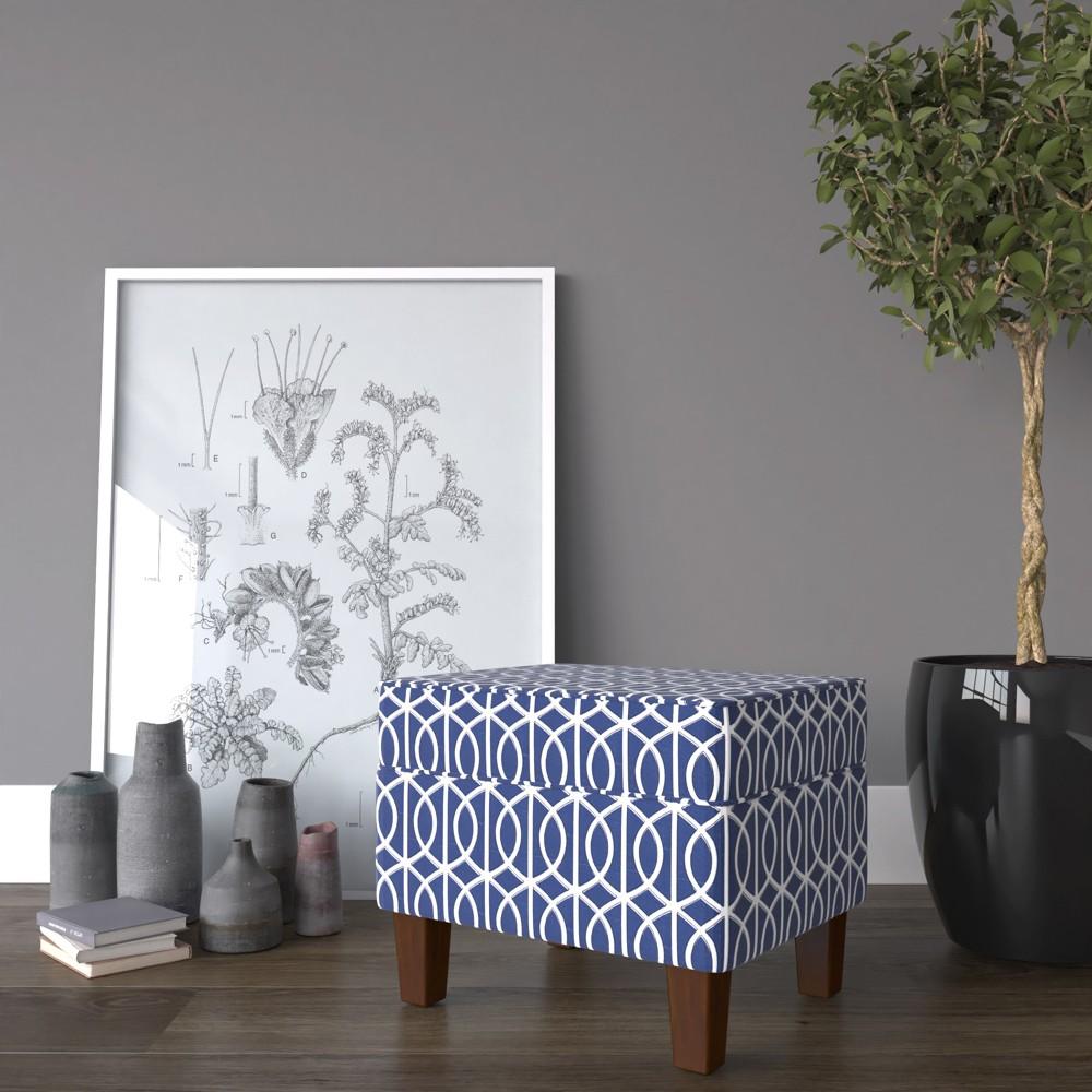Bella Storage Ottoman - Blue Trellis - HomePop