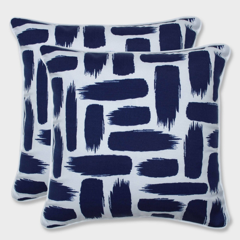 "Image of ""16.5"""" 2pk Baja Nautical Throw Pillows Blue - Pillow Perfect, Black"""