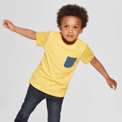 Toddler Boys' Pocket Short Sleeve T-Shirt - Cat & Jack™ Gold 4T