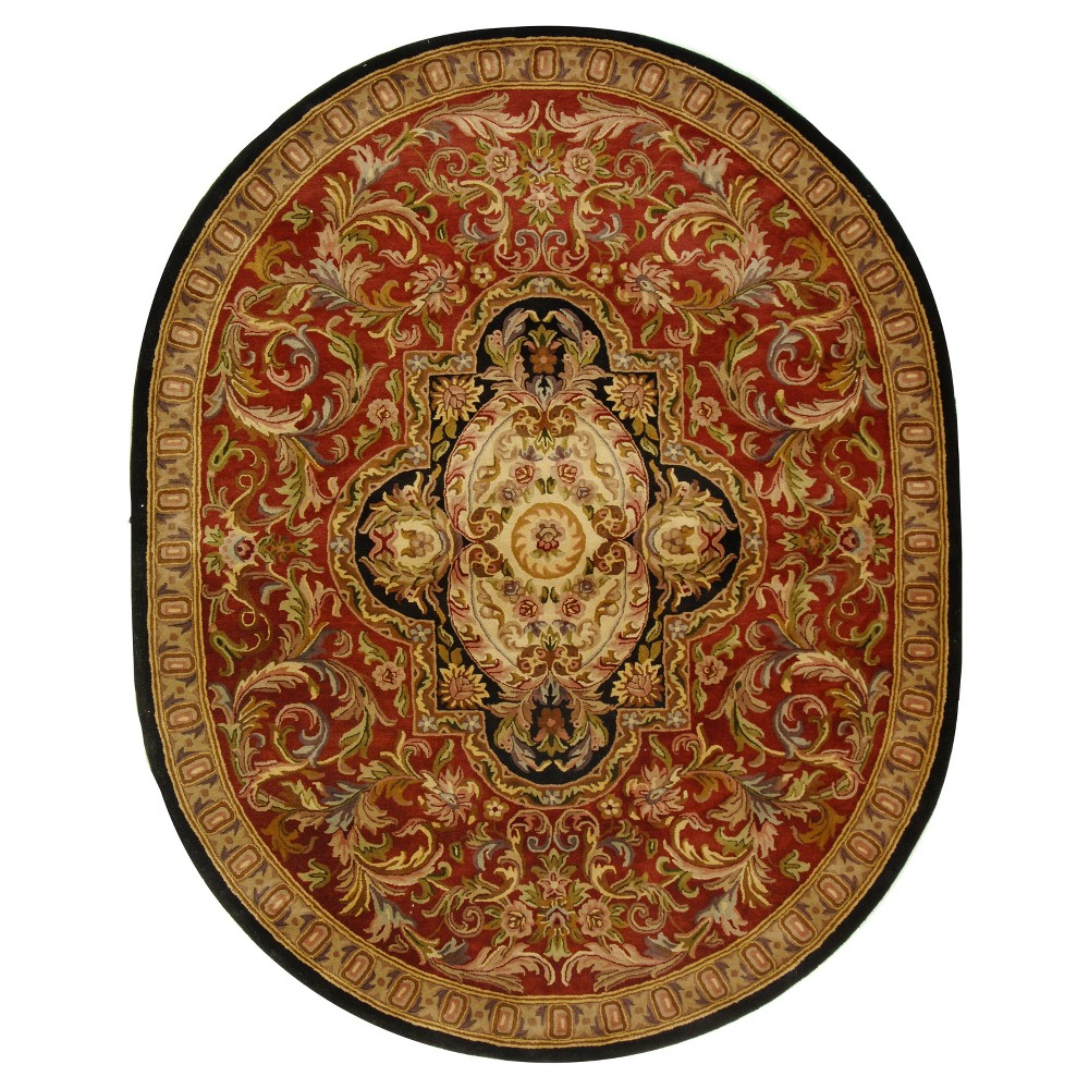 Red Black Abstract Tufted Oval Area Rug 7 39 6 34 x9 39 6 34 Oval Safavieh