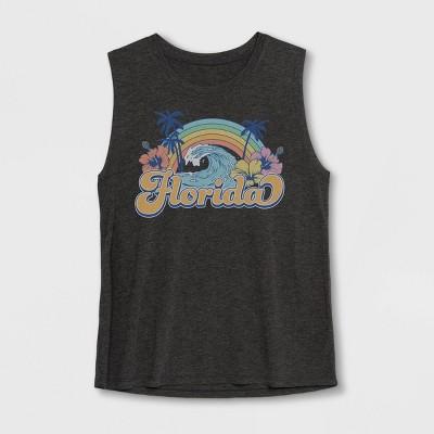 Women's Florida Rainbow Graphic Tank Top - Awake Charcoal Heather