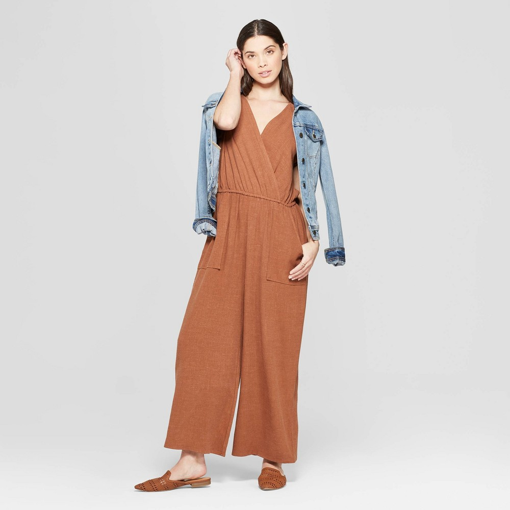 Women's Short Sleeve V-Neck Wide Leg Jumpsuit - Universal Thread Brown S