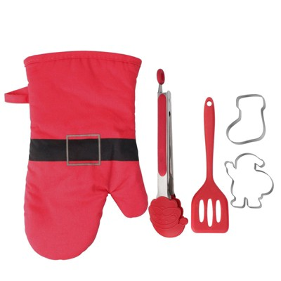 5pc Cotton Oven Mitt and Kitchen Utensil Set Red - Cook With Color