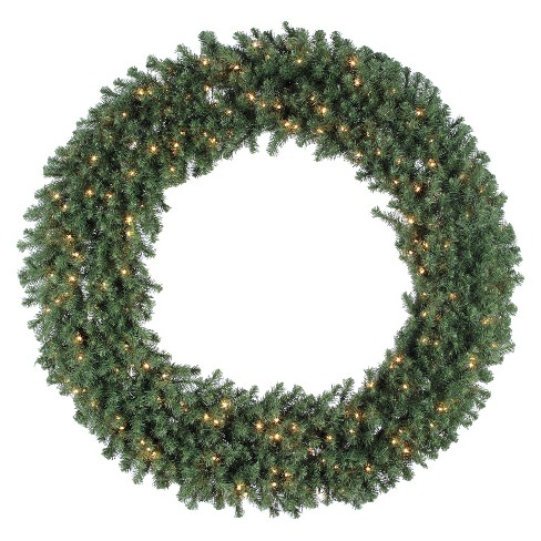 "60"" Pre-Lit Christmas Douglas Wreath - Clear Lights - image 1 of 1"