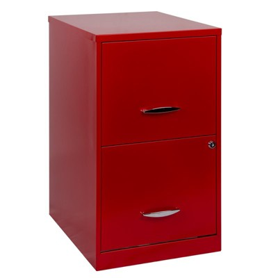 Steel SOHO 18 in Deep 2 Drawer Smart File Cabinet in Red-Hirsh Industries