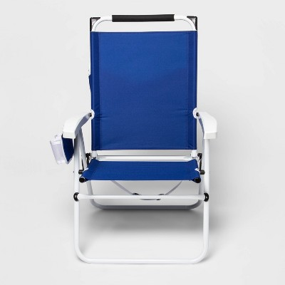 Deluxe Beach Backpack Chair with Built in Shade - Blue - Sun Squad™