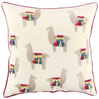 "18""x18"" Llama Print Square Throw Pillow Off White - Rizzy Home"