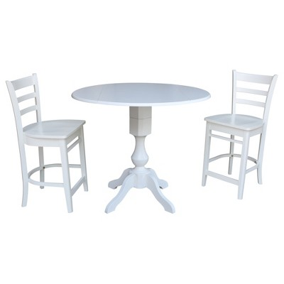 "42"" Round Pedestal Gathering Height Drop Leaf Table with 2 Counter Height Stools Dining Sets White - International Concepts"