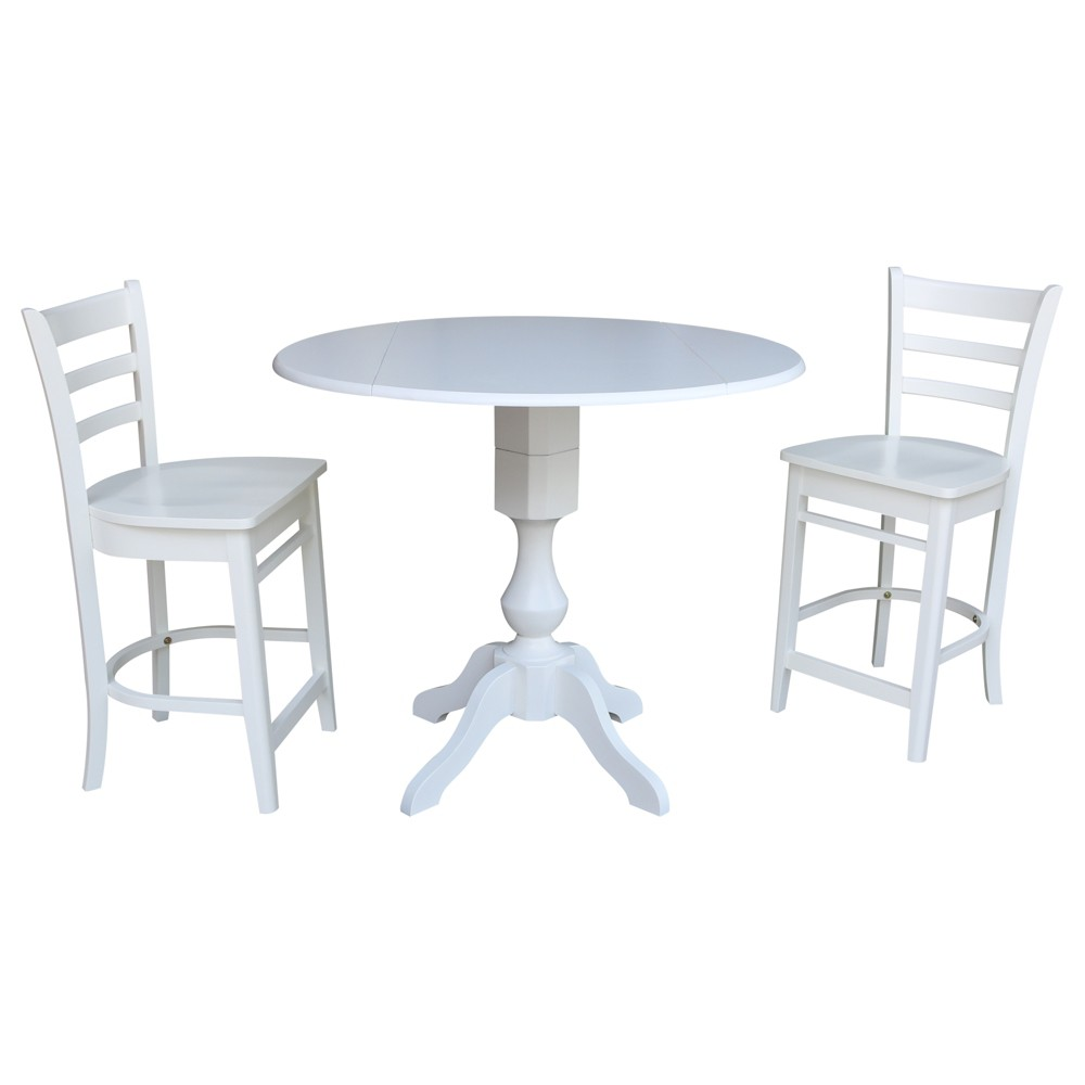 Amazing 42 Round Pedestal Gathering Height Drop Leaf Table With 2 Cjindustries Chair Design For Home Cjindustriesco