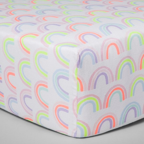 Fitted Crib Sheet Rainbows - Cloud Island™ White/Multicolored - image 1 of 2