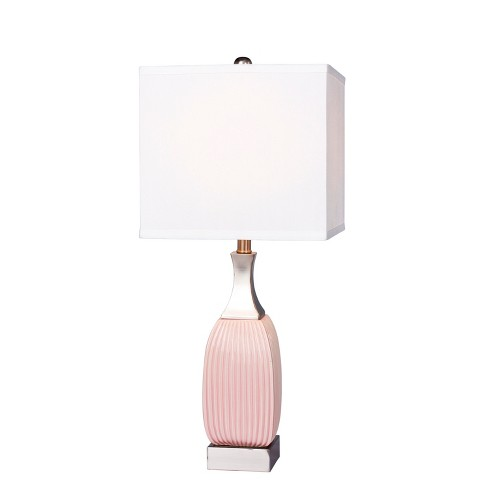 Vertically Ribbed Ceramic & Nickel Metal Table Lamps Pink  - Fangio Lighting - image 1 of 2