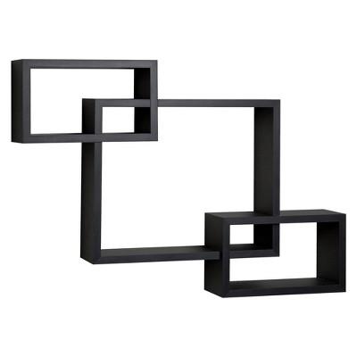 "26.5"" x 18.75"" Intersecting Rectangular Wall Shelf Black - Danya B."