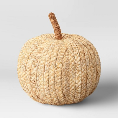 "6.5"" x 6"" Decorative Raffia Pumpkin Figurine Cream - Threshold™"