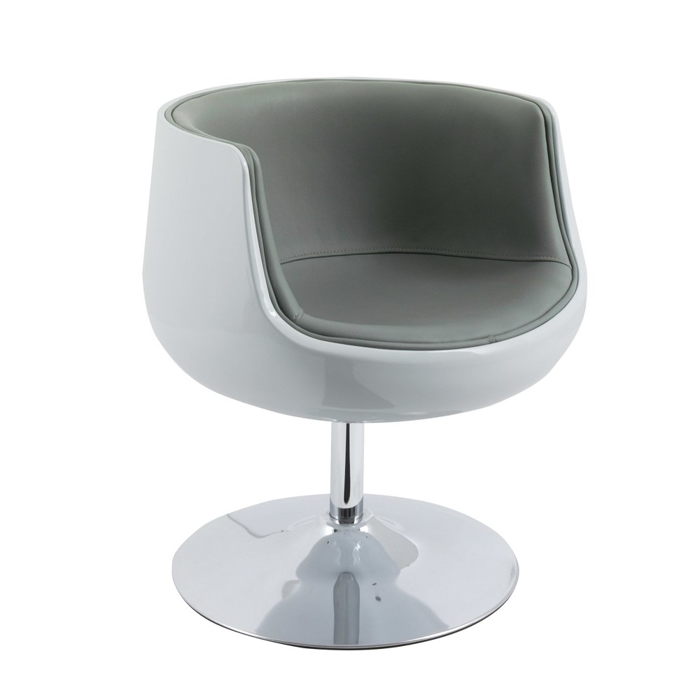 Modern Bonded Leather Barrel Chair Gray - CorLiving