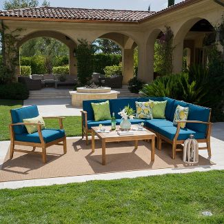 Perla 7pc Acacia Wood Seating Set - Teak/Blue - Christopher Knight Home