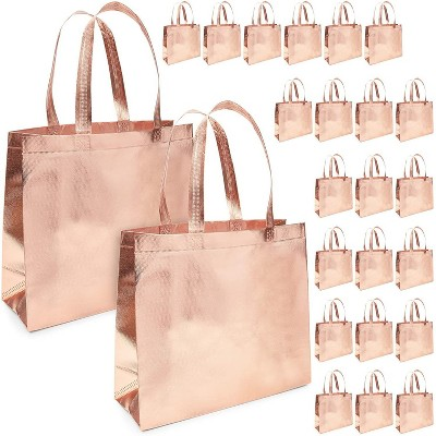 """Juvale 24 Pack Reusable Grocery Tote Bags with Handles Durable & Heavy Duty Shopping Totes, 19"""" x 13.5"""" Rose Gold"""
