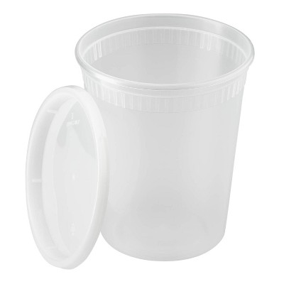 Lollicup Karat 32 Ounce Recyclable Polypropylene Microwave, Dishwasher, and Freezer Safe Deli Containers with Lids for Hot or Cold Foods (Pack of 240)