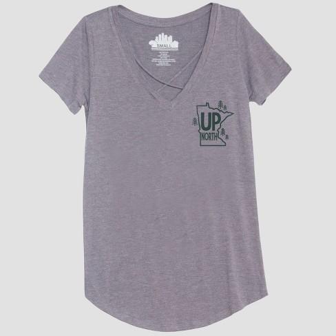 030a674b06 Women's Short Sleeve Up North Graphic T-Shirt - Awake Heather Gray XXL