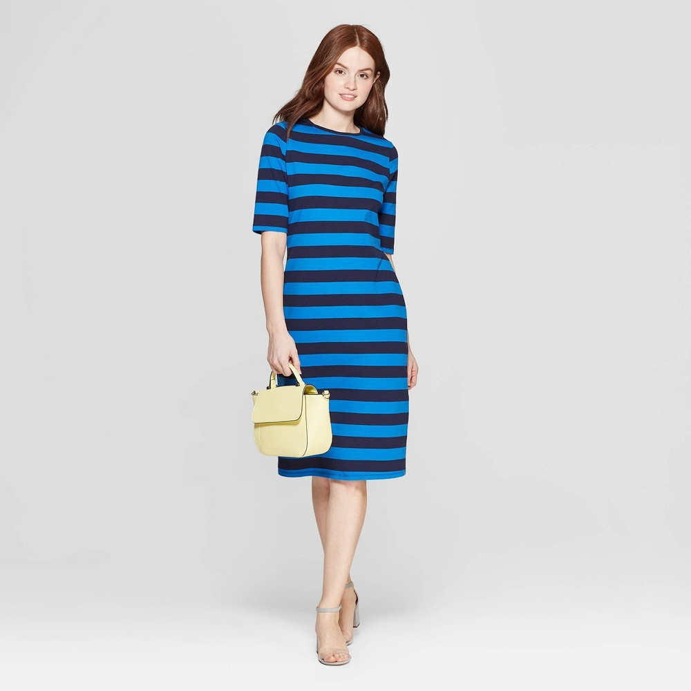 Women's Striped 3/4 Sleeve Crewneck Knit Dress - A New Day Navy S, Blue