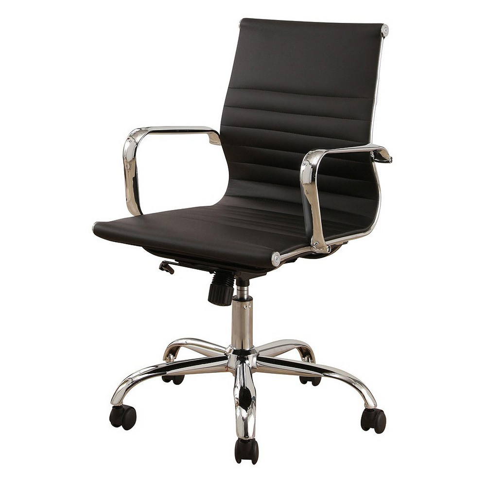 Jackson Silver Finish Leather Office Chair - Black - Abbyson