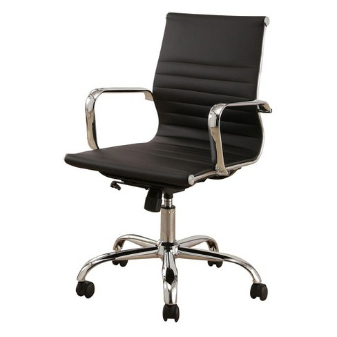Jackson Silver Finish Leather Office Chair - Abbyson Living - image 1 of 3