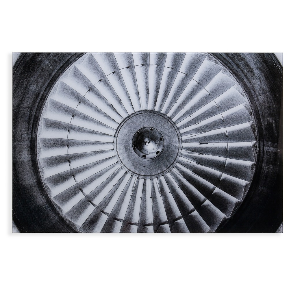 Jet Engine Glass Wall Art - Black and White - Aiden Lane, Black/White