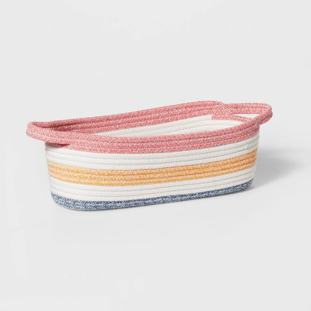 Oval Multi Stripe Coiled Rope Storage Bin Pillowfort 8482