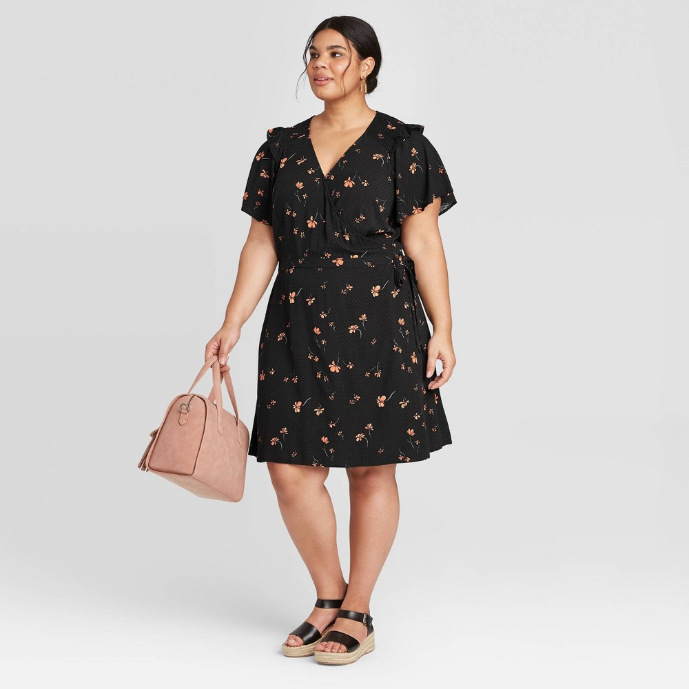 Women's Plus Size Floral Print Short Sleeve Ruffle Wrap Dress - Universal Thread Black 1X, Green Pink Blue was $24.99 now $17.49 (30.0% off)