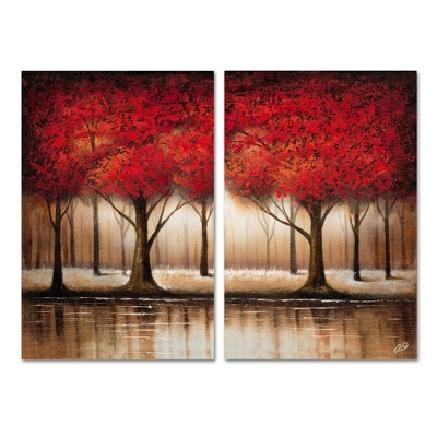 "16"" x 24"" Rio 'Parade of Trees' Two Panel Unframed Wall Canvas - Trademark Fine Art"