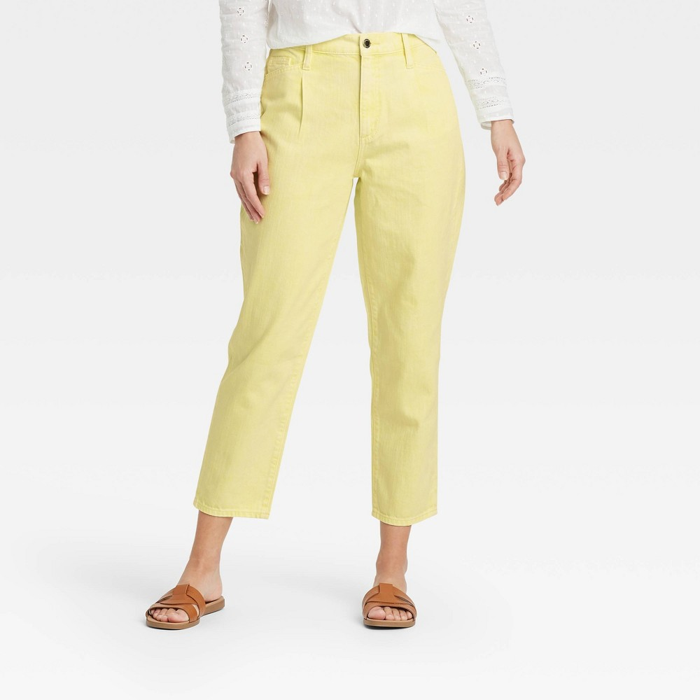 Women 39 S Super High Rise Tapered Cropped Jeans Universal Thread 8482 Yellow 18