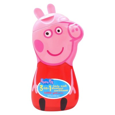 Peppa Pig 3-in-1 Body Wash Shampoo Conditioner Novelty Bottle - 14oz