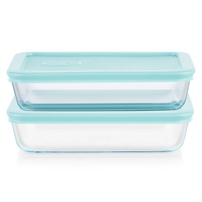 Pyrex 4pc 3 Cup Rectangular Glass Food Storage Value Pack