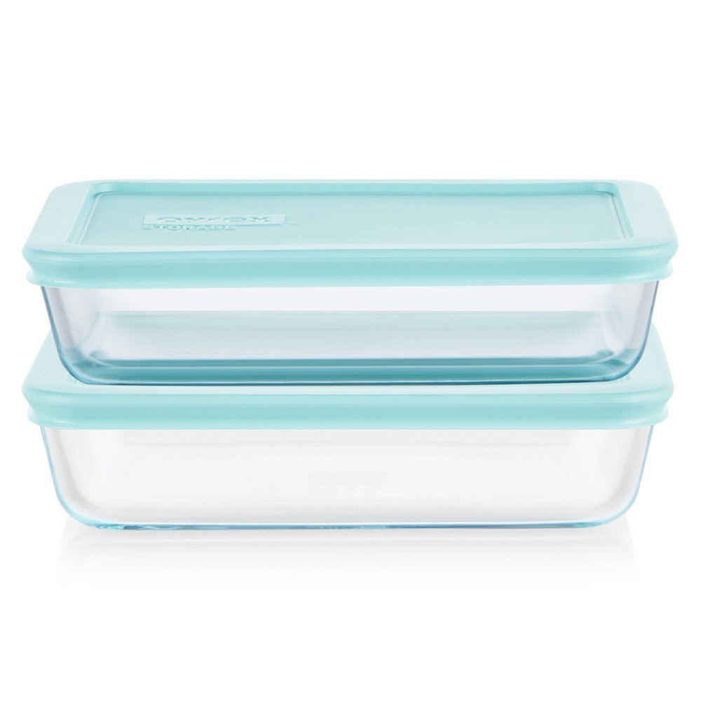 Pyrex 4pc 3 Cup Rectangular Glass Food Storage Value Pack Mint