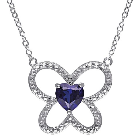 1 CT. T.W. Simulated Blue Sapphire Butterfly Necklace in Sterling Silver - Sapphire - image 1 of 3