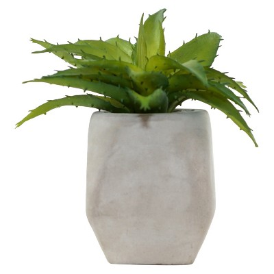 Artificial Succulent Arrangement in Cement Pot Green 6  - Lloyd & Hannah
