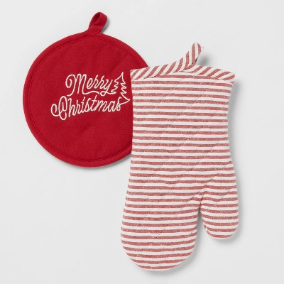 2pc Cotton Striped Oven Mitt and Embroidered Pot Holder Red - Threshold™