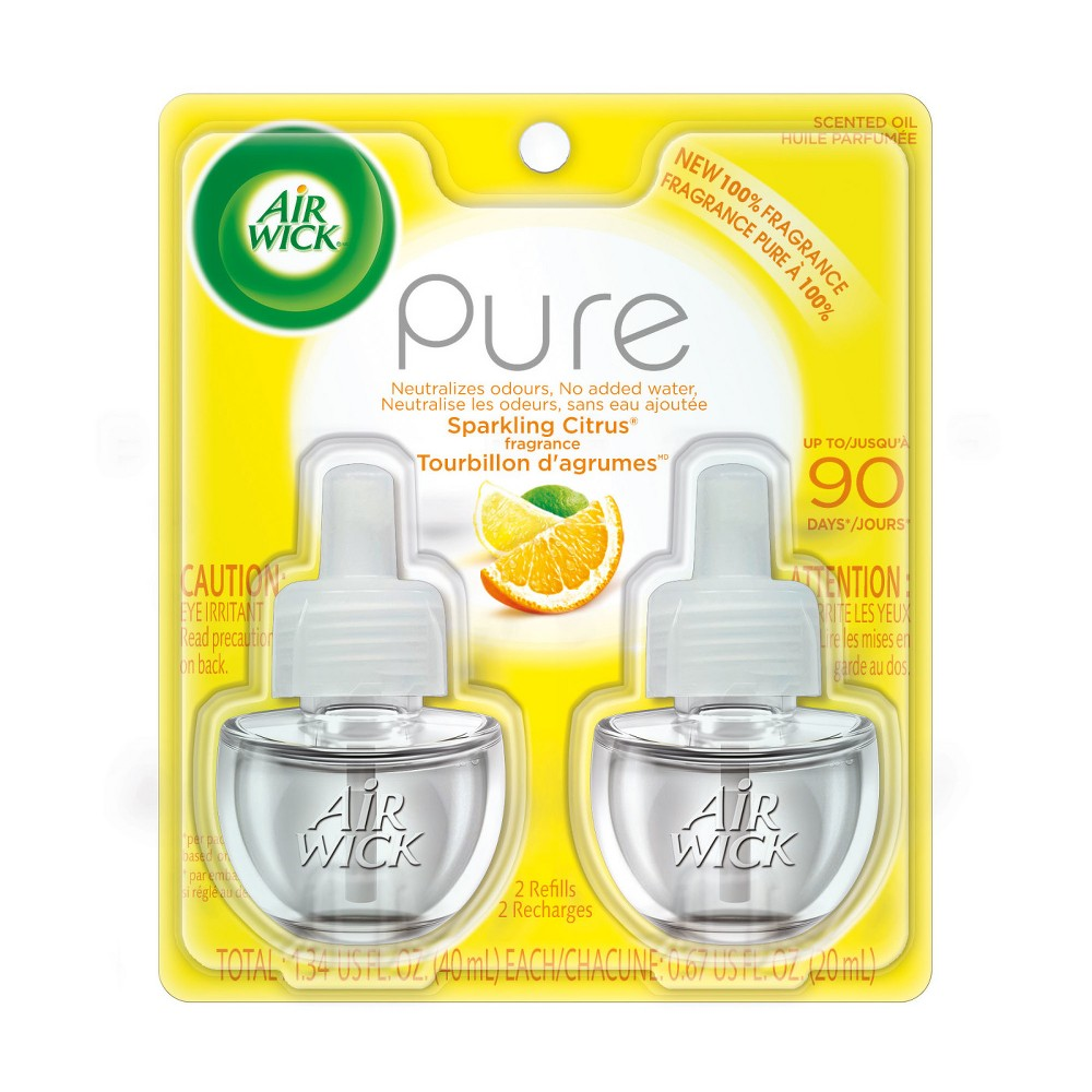 Image of Air Wick Scented Oil Pure Sparkling Citrus Air Freshener Refill - 0.67oz/2ct, Multi-Colored