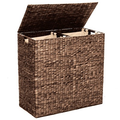 Best Choice Products Extra Large Natural Woven Water Hyacinth Double Laundry Hamper Basket w/ 2 Liner Bags, Handles