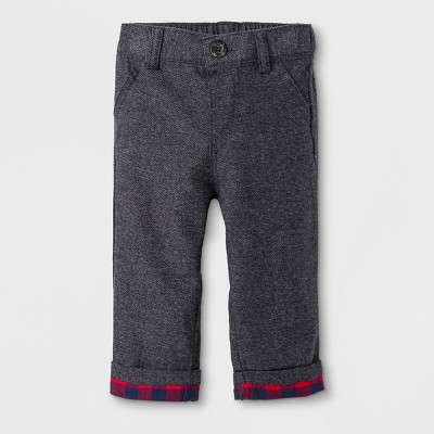 Baby Boys' Herringbone Twill Pull-On Pants with Flannel Cuffs - Cat & Jack™ Navy 3-6M