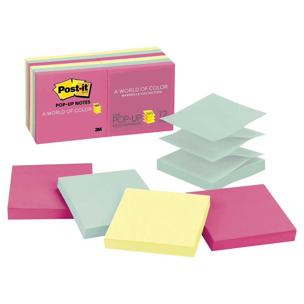 Post-it Post - it Pop - Up Note Refills 3 x 3 - Pastel (100 Sheet Pads pk), Multi-Colored