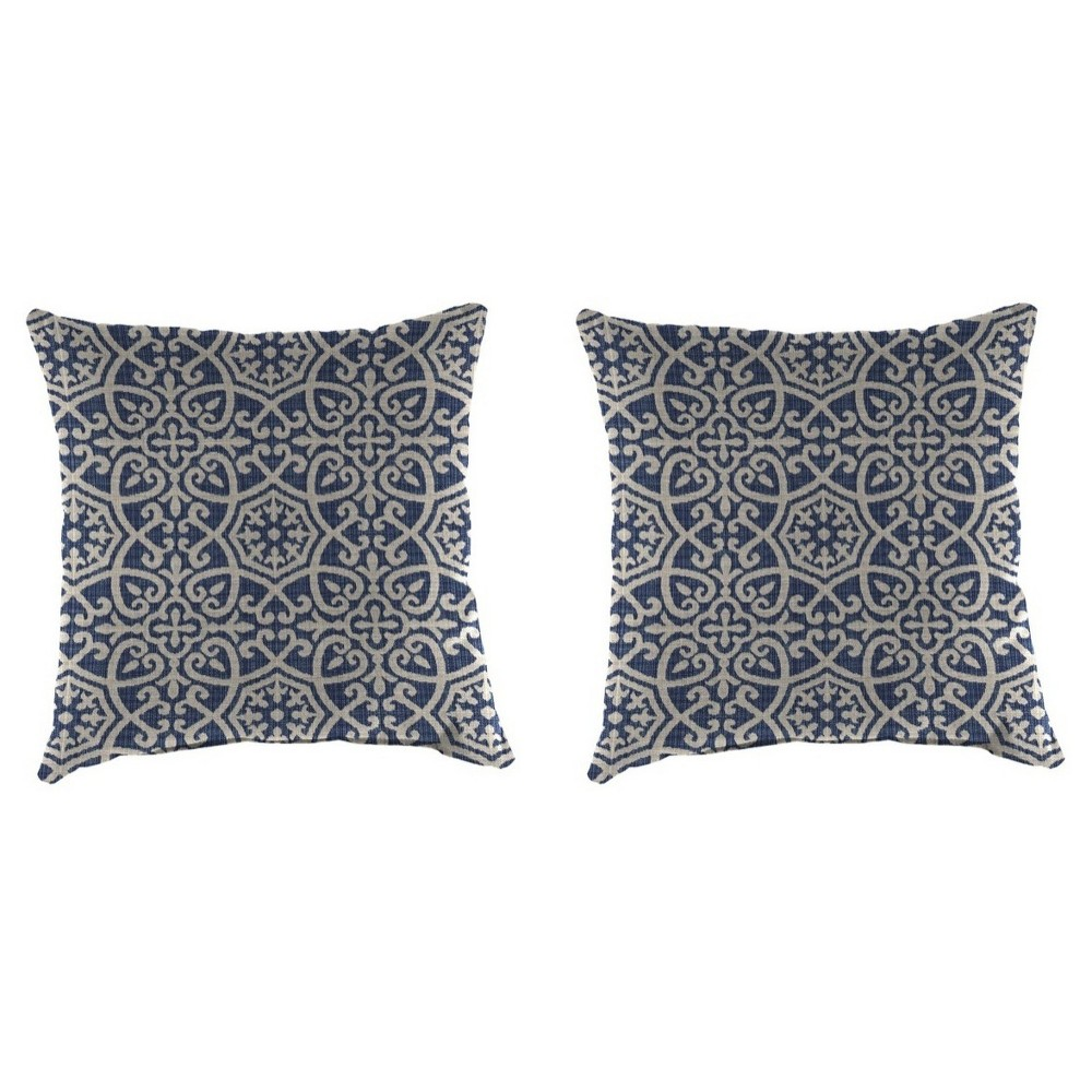 Image of Outdoor Set Of 2 Decorative Pillows - True Navy - Jordan Manufacturing