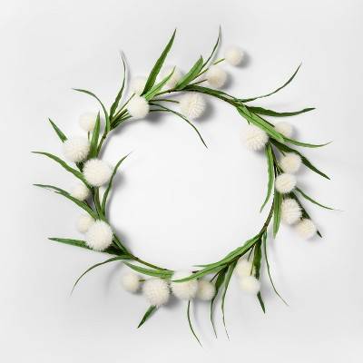 16  Artificial Dandelion Wreath White/Green - Threshold™