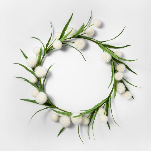 "16"" Artificial Dandelion Wreath White/Green - Threshold™ - image 1 of 1"